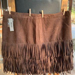 Fringed Brown Skirt